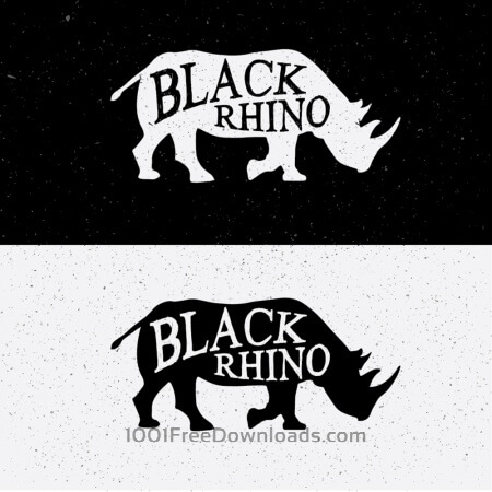 Black Rhino Hand Drawn On Black and White