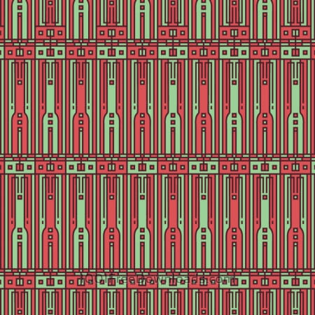 Tech style green and red geometric style pattern