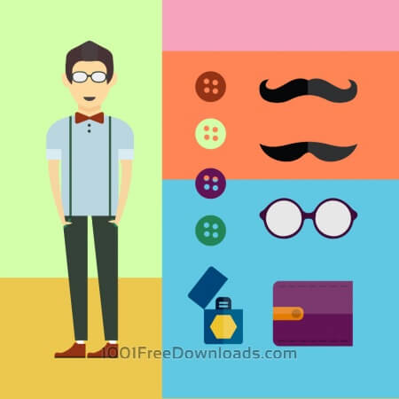 People vector character with tools and objects. Free illustration for design