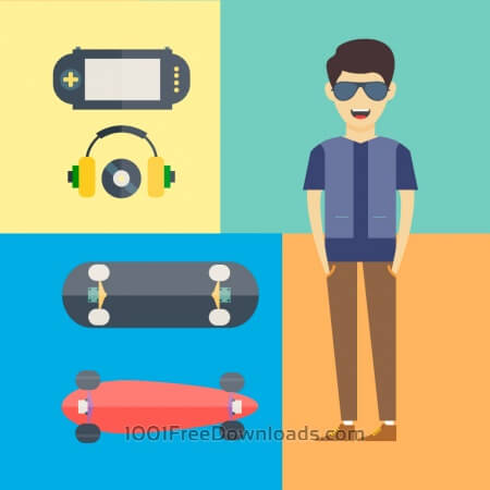 People vector characters with tools and objects. Free illustration for design