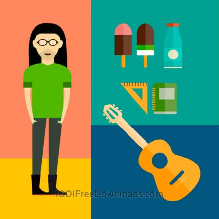 People vector music hero character with tools and objects. Free illustration for design
