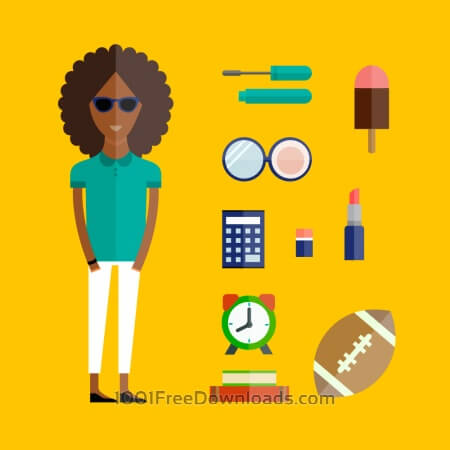 People vector afro girl character with tools and objects. Free illustration for design