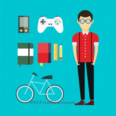 People vector designer character with tools and objects. Free illustration for design