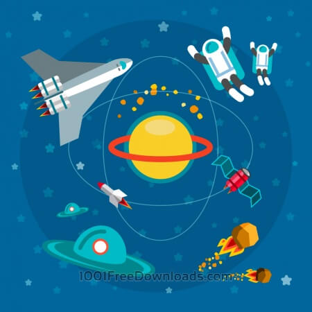 Space world with man and some objects. For free vector design