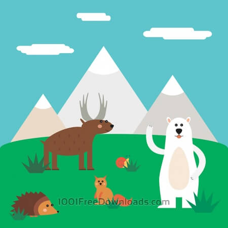 Vector illustration of cute north animal set for free vector design