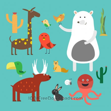 Vector illustration of cute animal set for free vector design