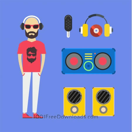 Some DJ man with music tools - vector free illustration