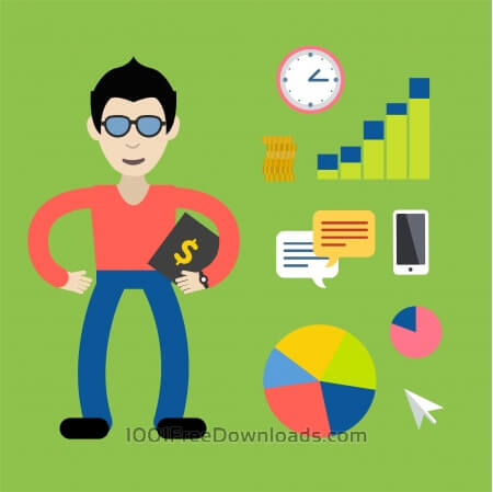 Some businessman with money tools - free vector illustration