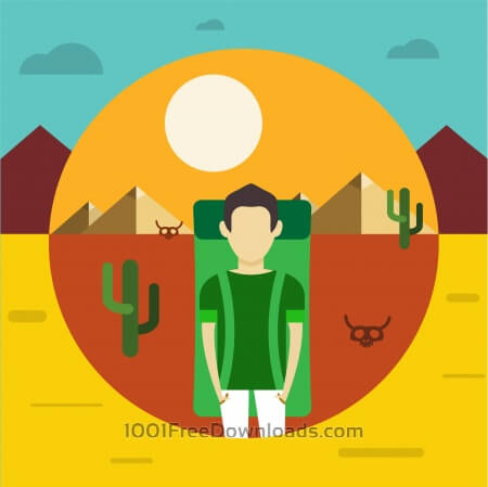 Free vector illustration with some man - travel