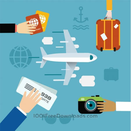 Free vector illustration of airplane flying and some travel tools