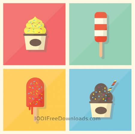 Retro Vintage Flat Ice Cream Collection