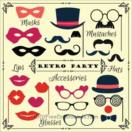 Accessories for fun retro party. Vector illustration