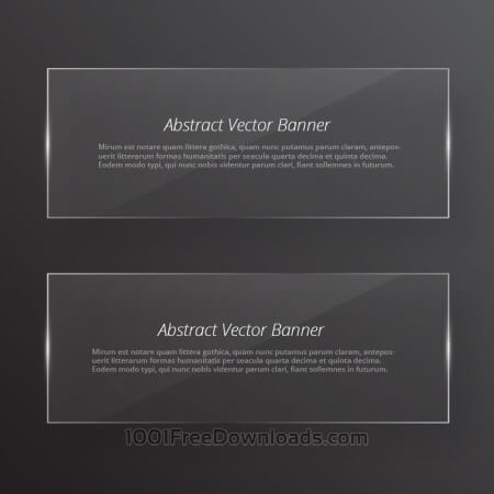 Transparent glass abstract banners