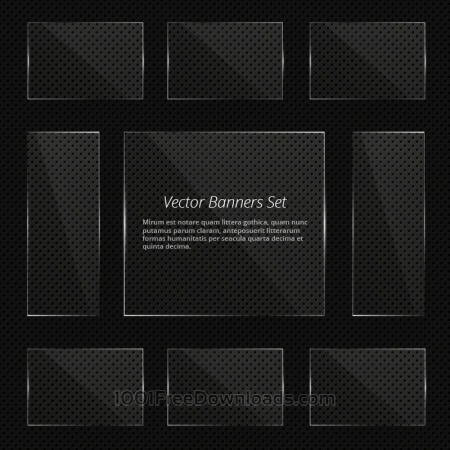 Free Glass vector banners with shiny lights