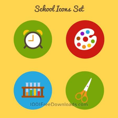 Flat school icon set