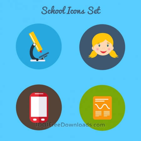 Flat school icon set