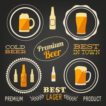 Beer vector elements, typo set