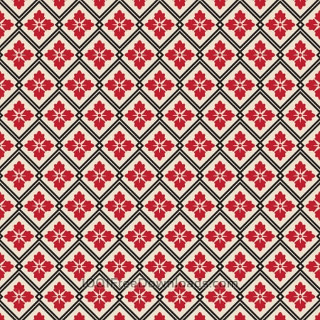 Asian Floral Red, White, and Black Pattern