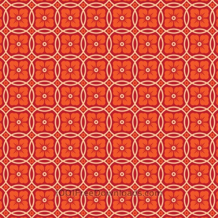 Asian Floral Orange, Red, and White Pattern