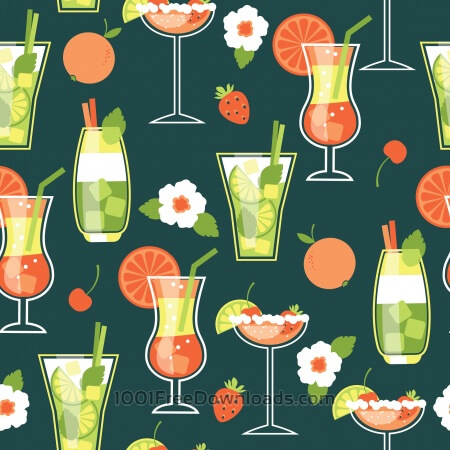 Summer Cocktails . Seamless pattern.