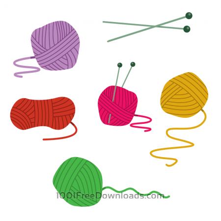 Colorfull Ball Of Yarn Vectors