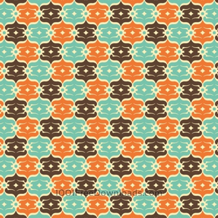 Retro Blue, Orange, and Brown Object Pattern