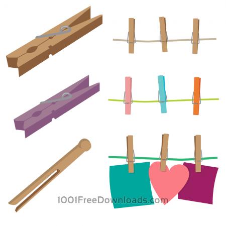 Clothespins Vector Set