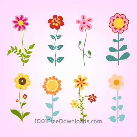 Free Hand drawn doodle flowers set