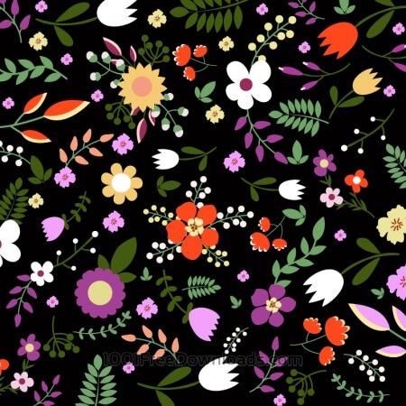 Hand draw seamless floral pattern on black bgackground