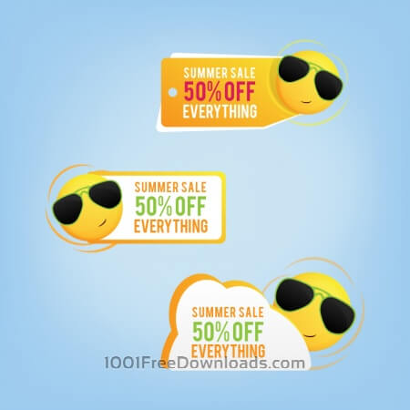 Summer price tags with a smiling sun