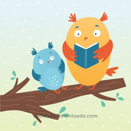Vector illustration of cute owls reading a book