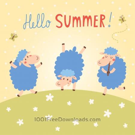 Hello Summer vector card with cute sheeps