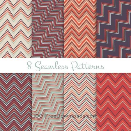 Retro seamless zig zag patterns set