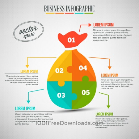 Business infographic, puzzle of a money bag