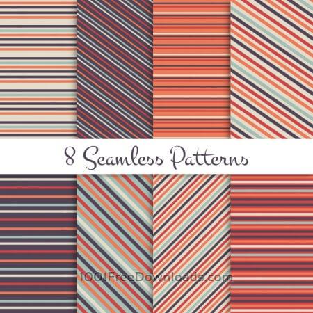 Retro striped seamless patterns set