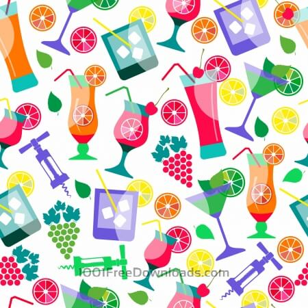 Free Seamless pattern of cocktails