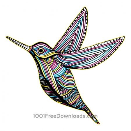 CMYK Colibri Bird Flying