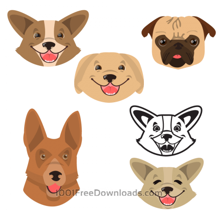 Cute smiling happy dogs vector set