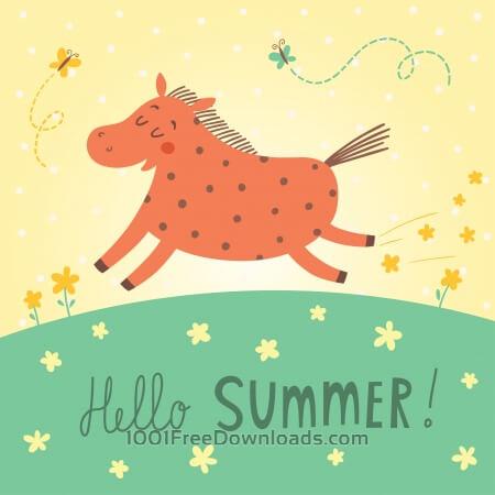 Hello summer vector card