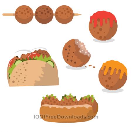 Tasty meatball vectors