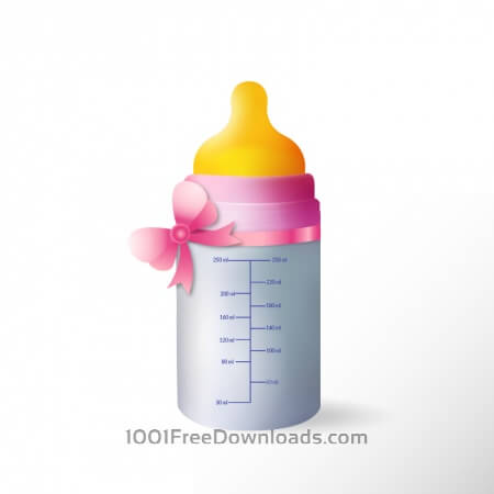 Baby bottle with cute ribbon