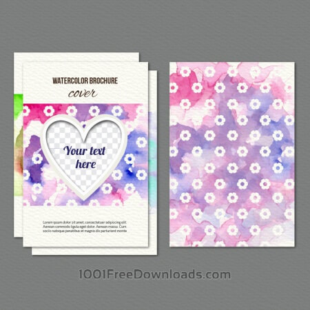 Watercolor cover with flowers and heart