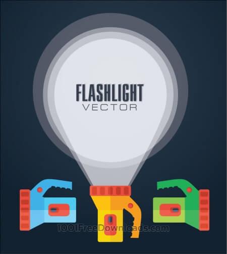 Flat vector illustration flashlight.