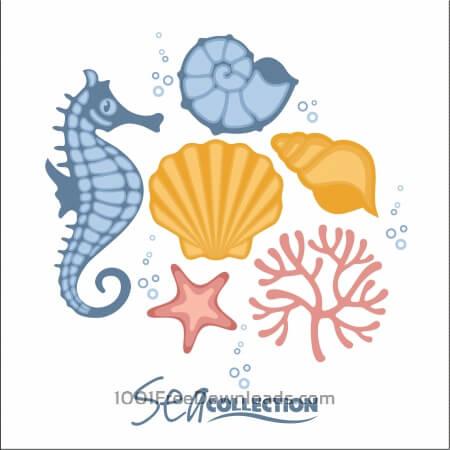 Vector set of sea fauna.