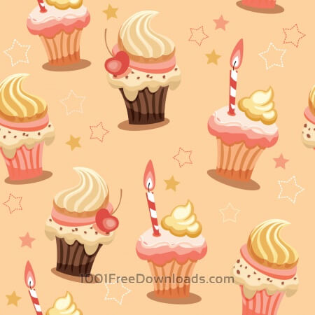Sweet seamless background with cakes