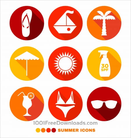 Summer abstract icons set
