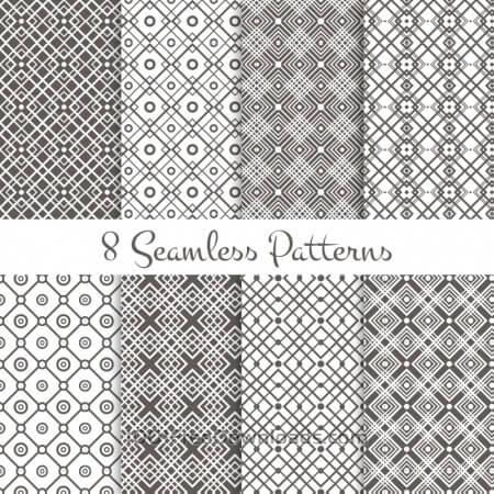 Black and white geometrical patterns set