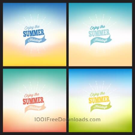 Summer blurred backgrounds set