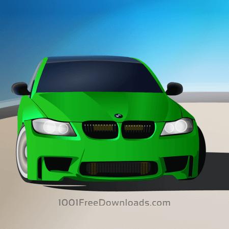 green sports car