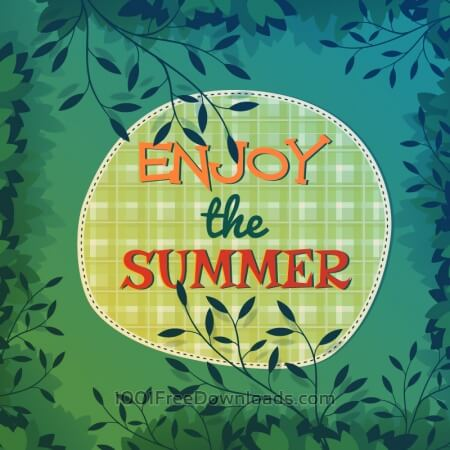 Summer nature illustration with leaves